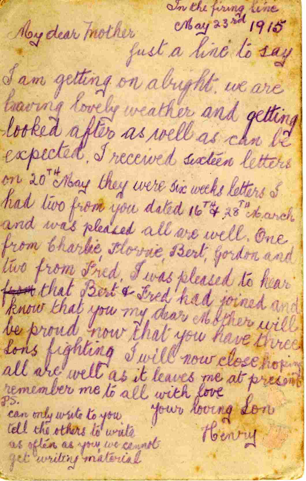 letters home henry wright to mother 1915 � gallipoli
